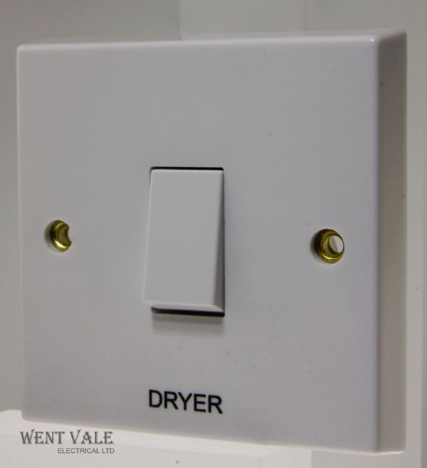 "Volex - VX1070-DR - 20a White Moulded Double Pole Switch Marked ""Dryer"""
